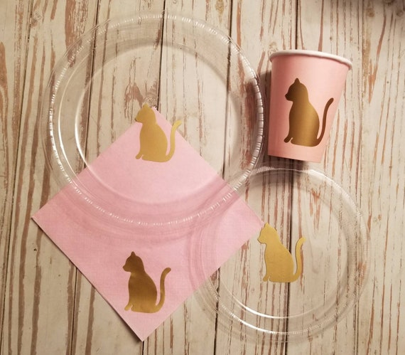 Cat party plates, cups and napkins, cat birthday party, kitten party plates, cups and napkins, animal baby shower, kitten birthday party,