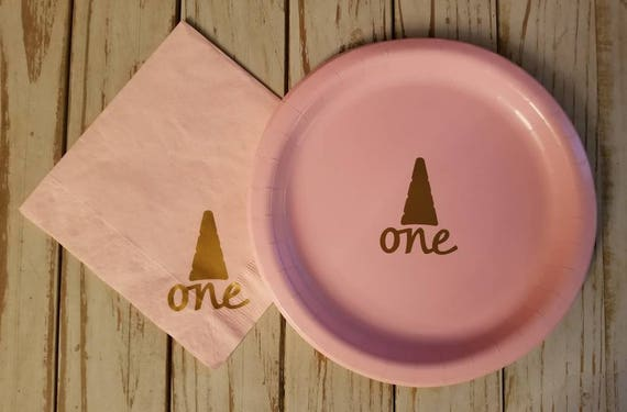 Unicorn party plates, unicorn pink and gold first birthday plates, cups and napkins, unicorn first birthday, princess party, horse birthday