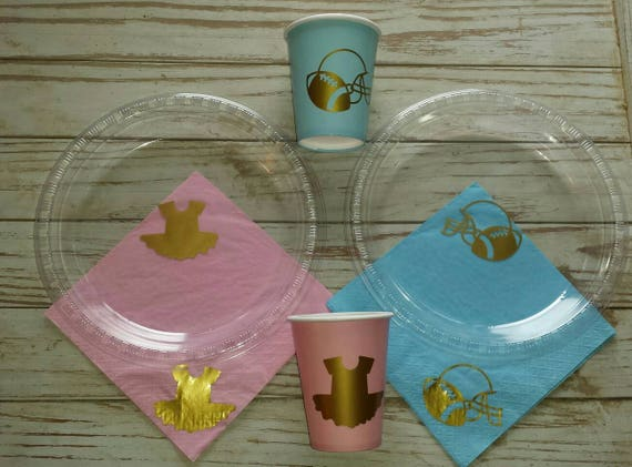 Touchdown or tutu gender reveal plates, cups and napkins, football baby shower, ballerina, It's a boy, It's a girl,  gender reveal party,