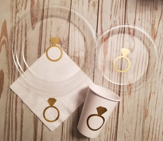 Diamond ring plates, cups and napkins, wedding cake plates, bachelorette plates and cups, bridal plates, bridal party cups, diamond ring cup
