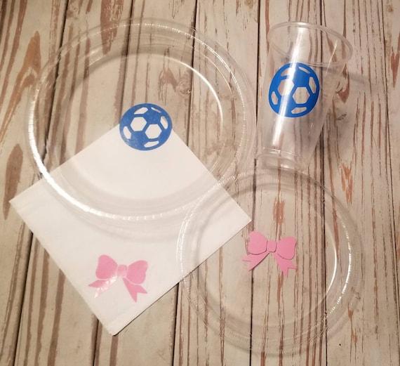 Soccer balls or pink bows gender reveal plates, cups and napkins,  goals or bows gender reveal, baby shower plates, cups,  napkins, soccer