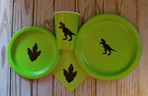 Dinosaur plates, cups and napkins, T-Rex plates, cups, dinosaur birthday party, dinosaur party supplies, boys birthday party, dinosaur party