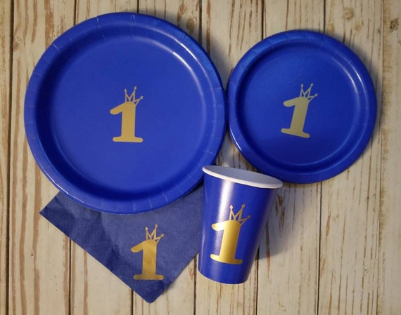 Royal prince blue and gold crown plates, cups and napkins, crown prince party, king plates, prince first birthday, prince party,