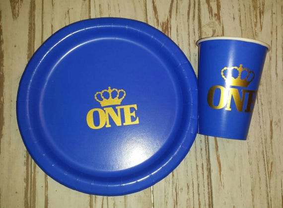 Royal prince blue and gold plates, cups, napkins, royal birthday plates, cups, royal first birthday, prince first birthday, royal party