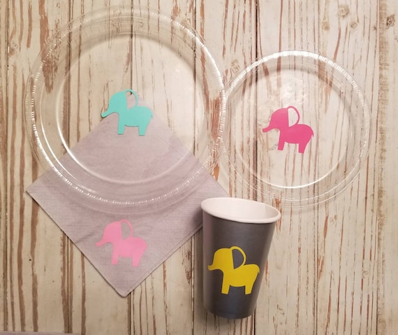 Elephant baby shower plates, cups and napkins, elephant plates, elephant party, elephant birthday, mint and gray, gray and pink, twin shower