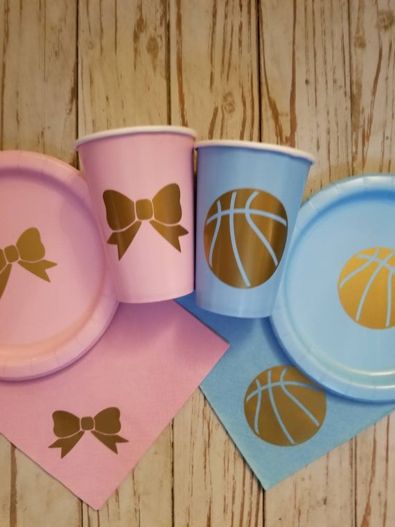 Free throws or bows gender reveal plates, cups and napkins, basketball or bows gender reveal party, basketball baby shower, gender reveal