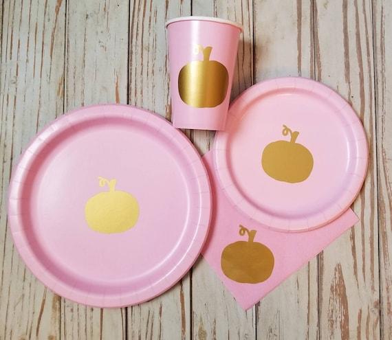 Pink and gold pumpkin plates,  cups and napkins, thanksgiving plates, pumpkin birthday, pumpkin baby shower, little pumpkin party, 1st party