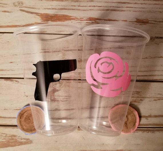 Guns or Rose's gender reveal party cups, gender reveal party, boy or girl cups, gender reveal supplies, rose or guns gender reveal, rose cup