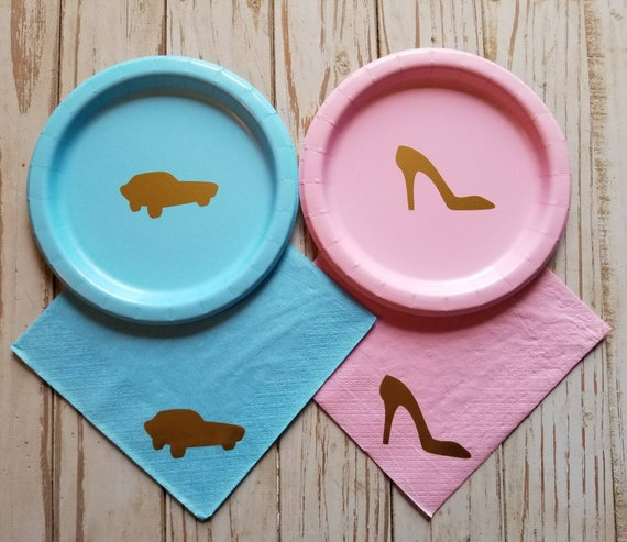 Heels or wheels gender reveal plates, cups and napkins, car baby shower, high heel baby shower, heel or wheel party decorations, boy or girl