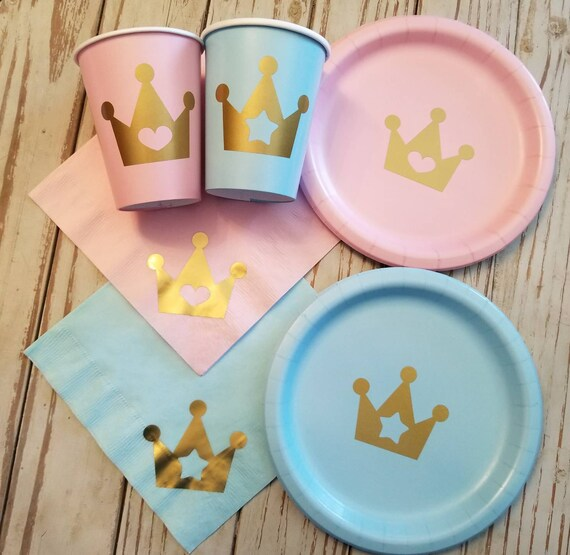 image 0 Prince or Princess gender reveal plates cups and napkins | Etsy