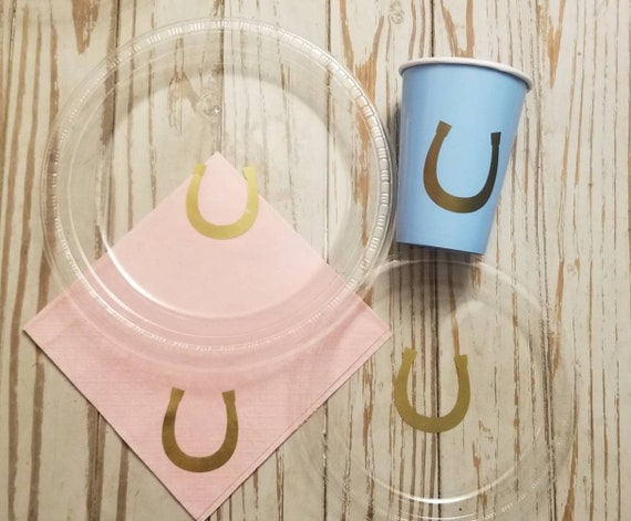 Cowboy or cowgirl gender reveal plates, cups and napkins,  gender reveal party, cowboy or cowgirl baby shower or gender reveal party,