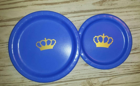 Royal prince blue and gold crown party plates, cups and napkins, prince baby shower, royal baby shower, crown prince party, royal prince,