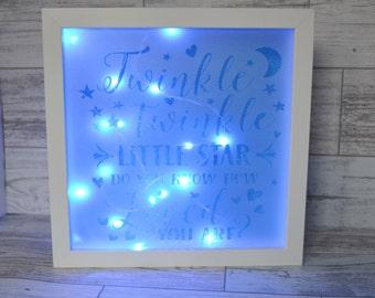 Night Light, Nursery Decor, Shadow Box, Twinkle Twinkle, Childrens Bedroom Decor - New Baby Gift - Baby Shower
