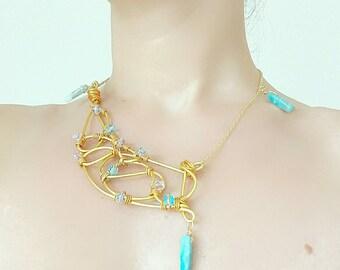 Gilded aluminium collar and semi-precious stones