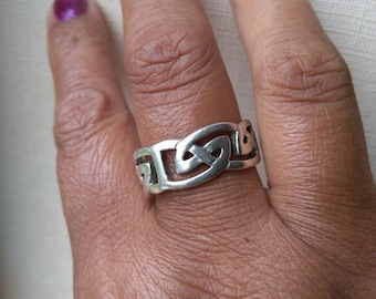 Silver Celtic knot ring.