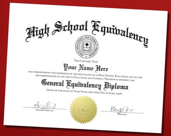 novelty fake ged certificate diploma with embossed gold seal