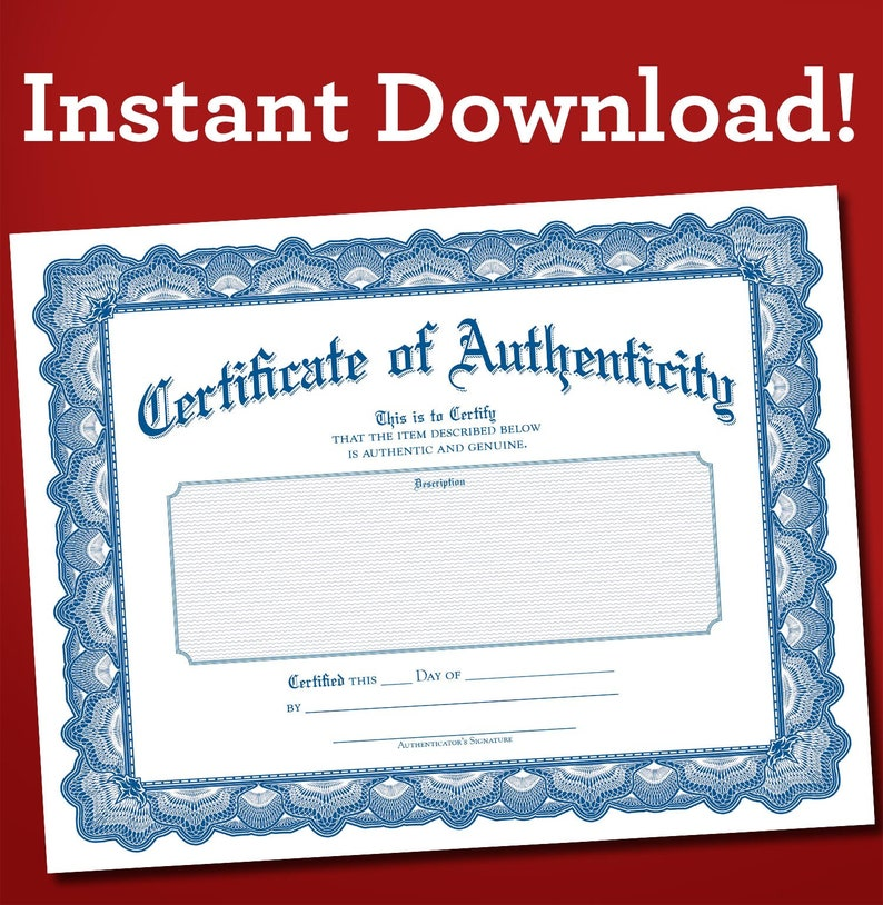 Certificate of Authenticity PDF download blank fill in yourself