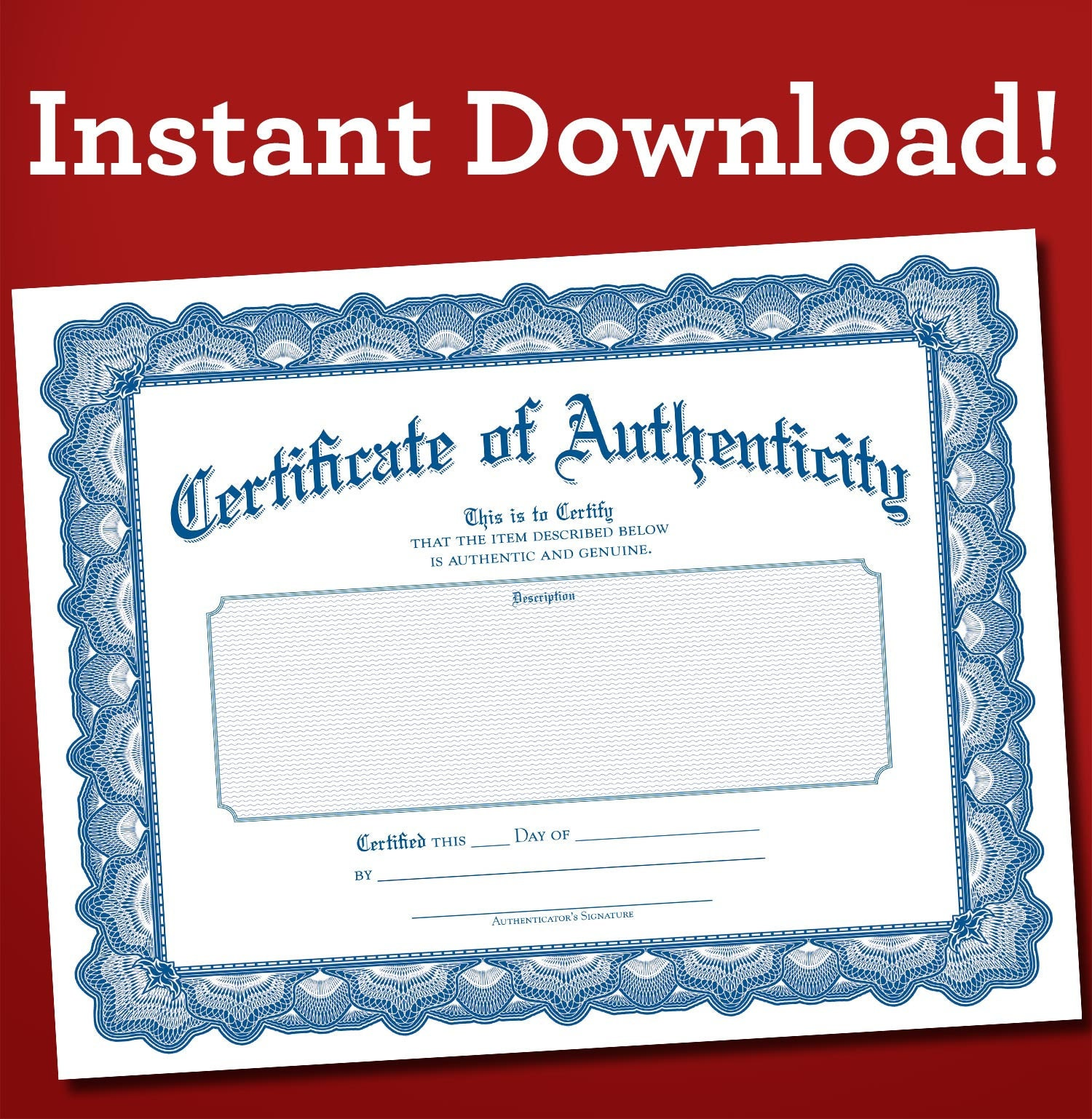 Certificate Of Authenticity PDF Download Blank Fill In