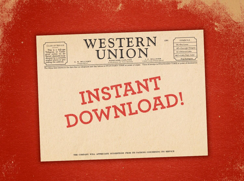 Western Union Blank Telegram Vintage Style instant PDF | Etsy