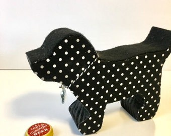 Wooden Puppy, Black Polka-Dotted