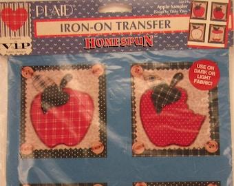 "Plaid Iron-On Transfer - Homespun - ""Apple Sampler"" - designed by Tasha Yates - #57659"