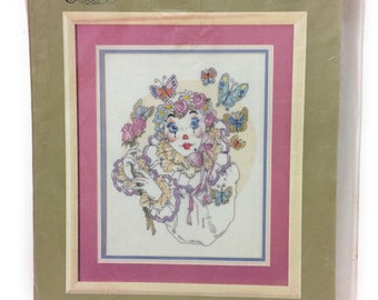 """Cross Stitch - """"Mime with Butterflies"""""""