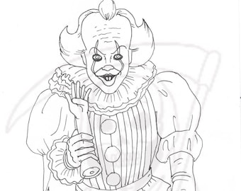 Clown Coloring Book Etsy