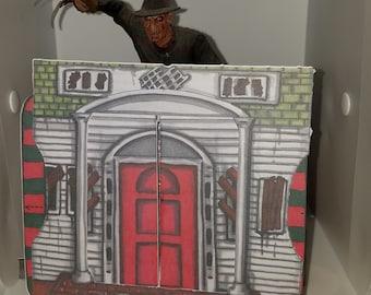 Greeting Card, Freddy, Horror, Handmade, Nightmare on Elm Street, Pop Up