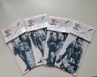 The Addams Family, Sticker Set, Black and White, Fan Art