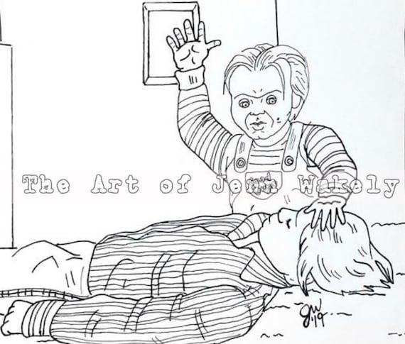 Juego De Niños Página Para Colorear Andy Y Chucky Etsy