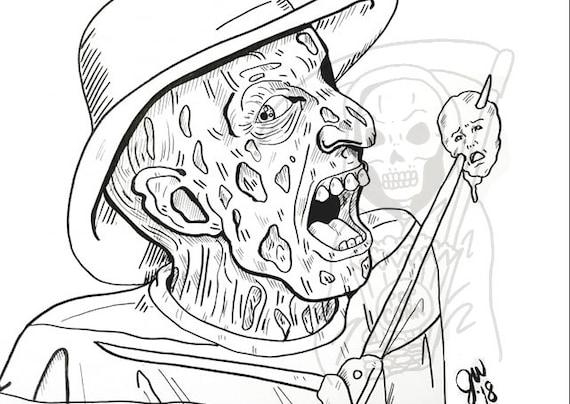 Freddy Krueger Coloring Page A Nightmare On Elm Street Art