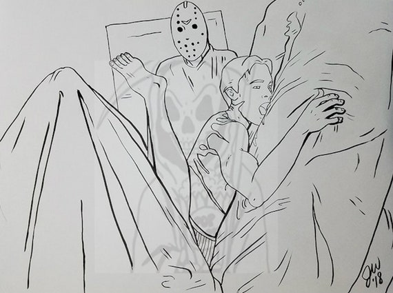 Jason Voorhees Coloring Page, Horror, Slasher, Bloody, Friday the 13th