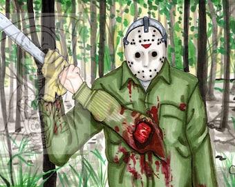 Jason Voorhees, Sticker, Artwork, Horror