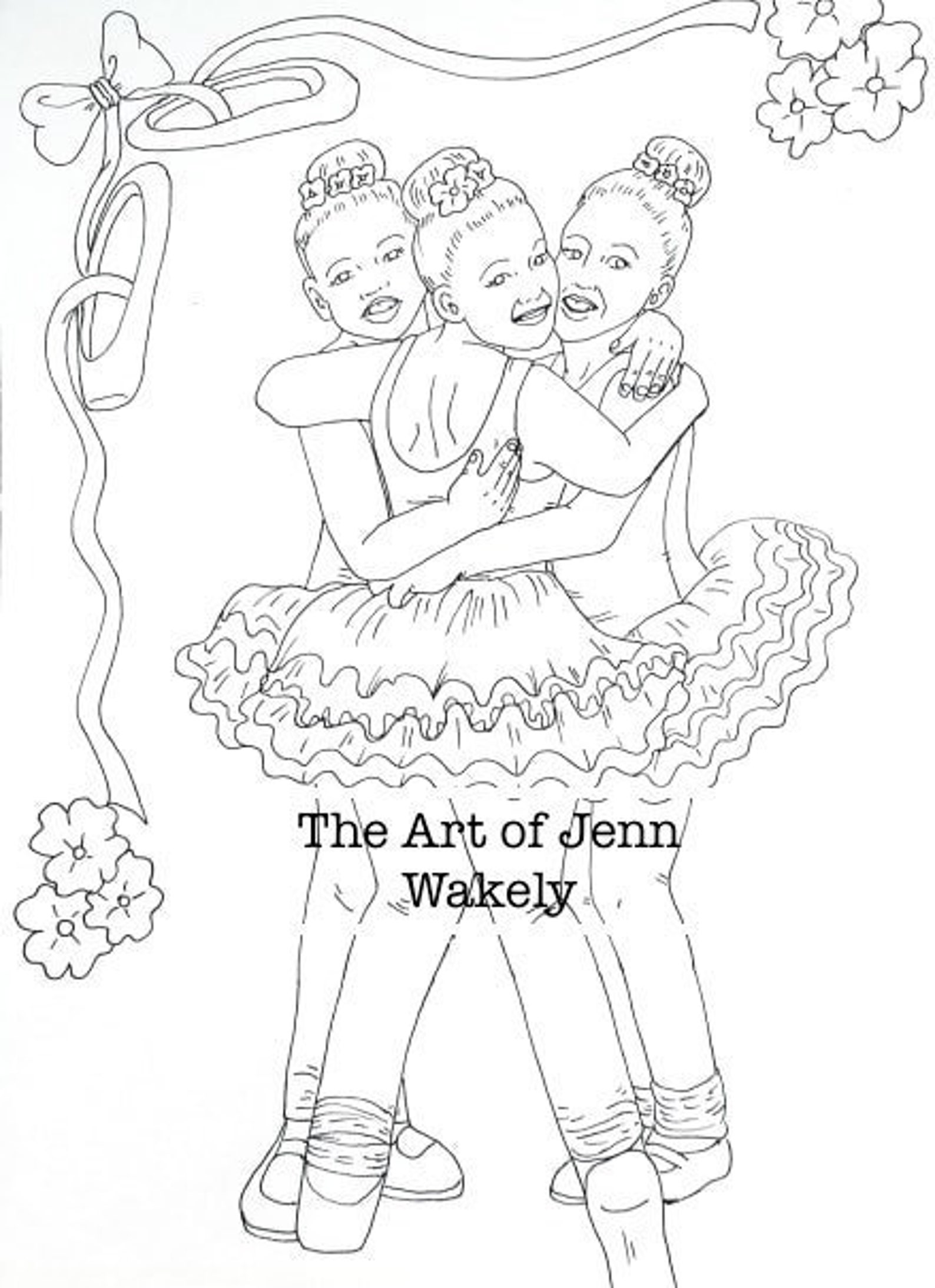 ballet girls, coloring page, cute
