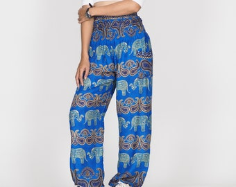 07ce277232e5 Harem Pants Paradise Bohemian Hippie travel Clothing Boho Pants High waist  Purple peacock Feather 20015-04