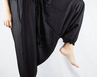 dd11641d3be Gypsy Harem Pants jumpsuit Hippies Drop Crotch Genie Aladdin pants Boho  Tribal Plus Size Black PP0056-02