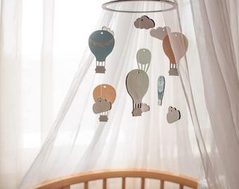 Hot Air ballon mobile - Baby mobile hot air ballon - Crib mobile hot air ballon  - Wooden baby mobile - Baby mobile - Crib mobile