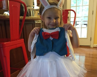 White Rabbit from Alice in Wonderland Tulle Costume/Onesie for Infant, Toddler, or Kids