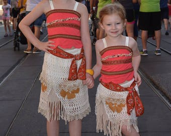 Moana Costume (Top and Skirt) for Girls, Adults, or Toddlers