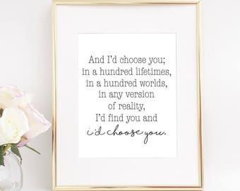 And Id choose you printable, Id choose you sign, Id choose you print, Couple bedroom decor, Romantic prints, Bedroom wall decor, Bedroom art