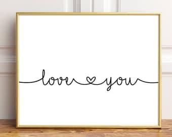 Bedroom wall decor, I love you wall decor, I love you wall art, Love you printables,  Couple bedroom wall art,  I love you print, Love print