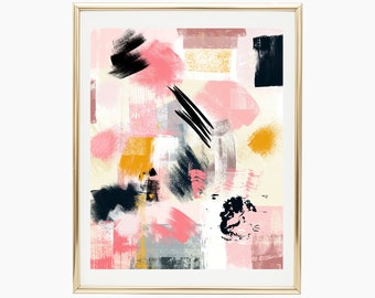 Colorful abstract painting, Pink abstract painting, Mustard wall art, Abstract poster, Abstract printable, Pink and black abstract art