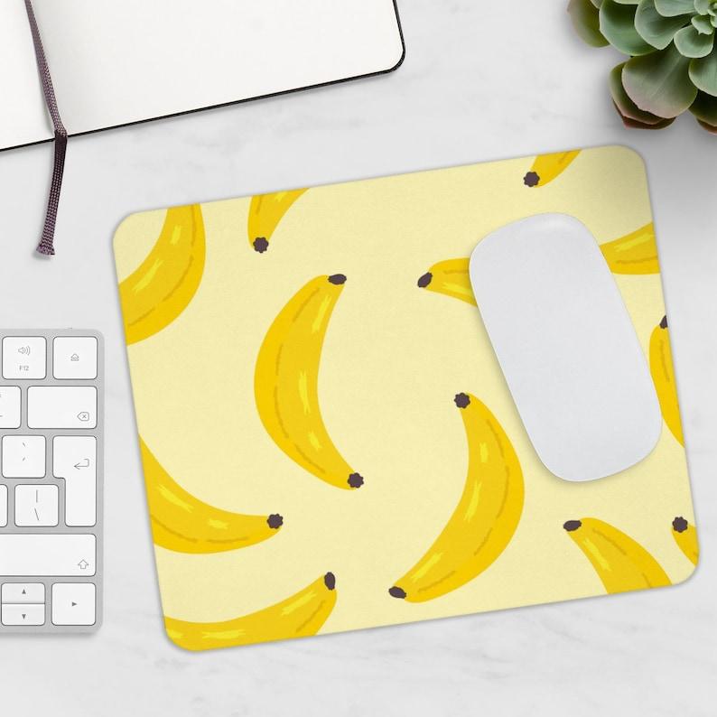 Banana mousepad Fruit mousepad Fruits mousepad Banana decor Yellow mousepad Banana lover gift Cute mousepad Bananas mousepad