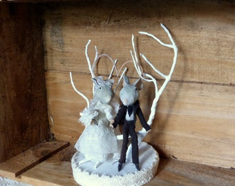 2 mouse at the Wedding - Cake topper - cake - paper mache Decoration