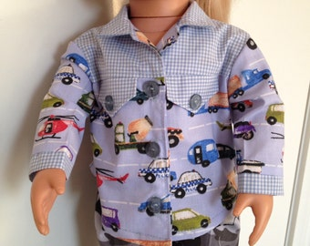Long sleeved cotton shirt for 18in boy or girl dolls like Our Generation and American Girl