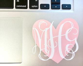 Heart Monogram Decal for Laptop | Heart Monogram Decal | Heart Decal | Monogram Decal for Laptop | Monogram | Monogram Decal for Laptop