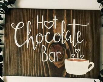 Hot chocolate bar sign, hot cocoa bar, wedding decor, handmade sign