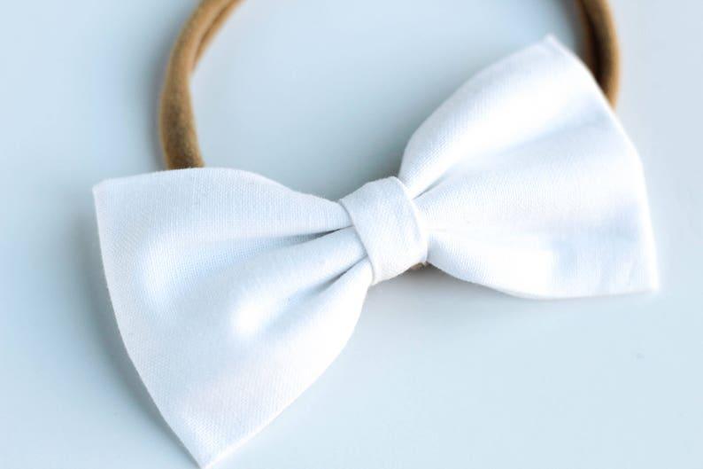a62251944bbd White bow Fabric Hairbow Girls Hair Clip Newborn Hairbows
