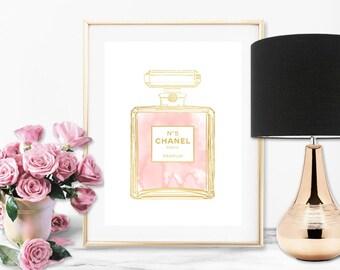 Chanel No 5 Perfume Bottle Blush Pink Faux Gold Art Print - Instant Digital Download