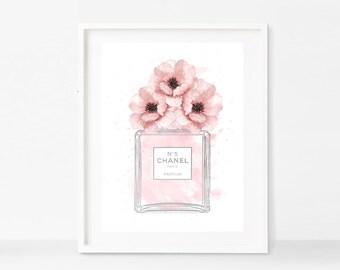 Chanel No 5 Perfume Bottle Blush Pink Poppies Faux SilverArt Print - Instant Digital Download
